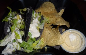 Baja Taco meal with cihps and queso