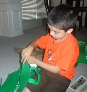 And tote bags...Connor decided to put all the coupons in the bag so they were ready to go.