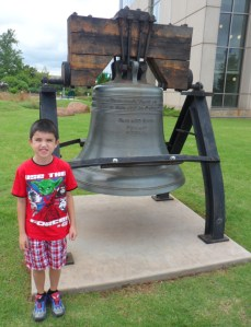 "The Liberty Bell...as we walked up to this Connor told me ""That looks like the Liberty Bell"" and I told him it was but it was a replica.  He then told me that the real one is in Philadelphia and it has a crack."