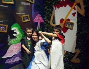Alice in Wonderland...I didn't put the dress on...I just put my arms though