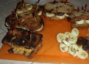 Here are her finished sandwiches...they were grilled in a pan.