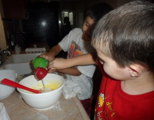 Then they added in the milk and vanilla extract and then the flour.