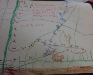 """""""A beanstalk, a flower, a bunny, a grasshopper, and birds following a map and a line, and a hole."""""""