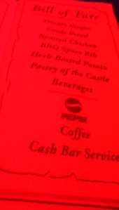 This is the menu on the napkin.