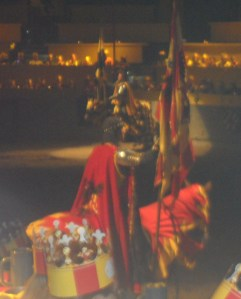 This was our knight...the Red & Yellow Knight.  In case you've never been there are several different sections and you are seated in one of them and that is the knight you cheer for.