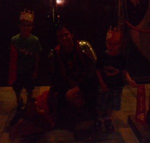 The boys with the Red & Yellow Knight...but it came out really dark.