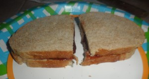 The completed not so giant strawberry jam sandwich.