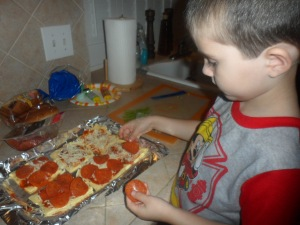 Then they carefully placed pepperoni exactly how they wanted it.