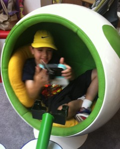 Super excited to sit in the Yoshi egg chair.