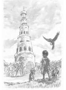 Connor's favorite picture in the book- Iggy looking at the Tower of Decisions.