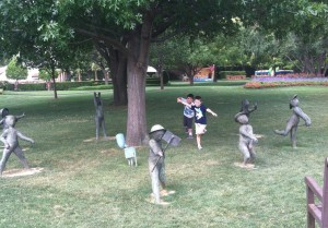 Playtime by Texas artist David Cargill- According to the audio there are 8 bronze figures of children playing but I only counted 7.  We didn't see the 8th.