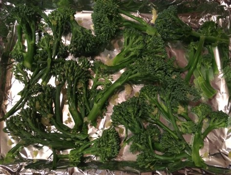 Here is our broccolini with fresh garlic.