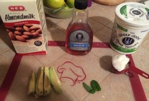The ingredients here are avocado, yogurt, almond milk, mint, and agave nectar.