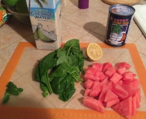 Ingredients for this one are watermelon, spinach, lemon, mint, coconut water, and coconut cream.