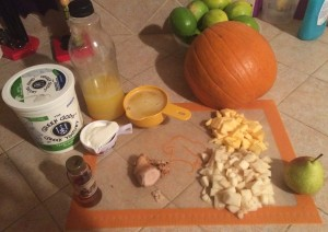 This one was made with pumpkin, ginger, pear, maple syrup, fresh orange juice, and yogurt.