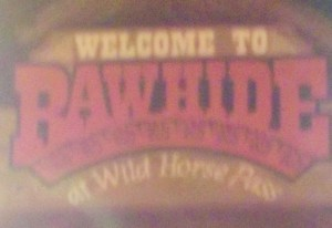 This is over the entrance to Rawhide. I took it when we left so it was dark and there were these 2 bright lights right next to the sign so this didn't come out well but I figured I should use it anyways.