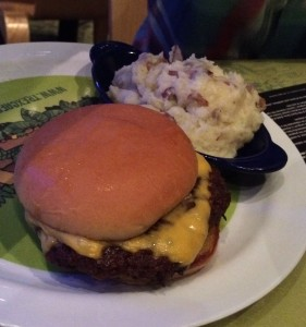 JT's cheeseburger with mashed potatoes