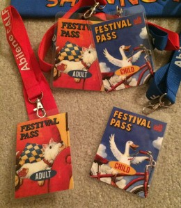 This Year's passes feature Fergus and the duck on the bike.