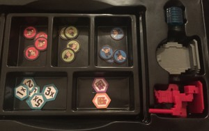 The top 3 compartments are the action tokens. The bottom 2 are the conditional tokens. Then on the right side from the top are the crystals, portal, and avatar.