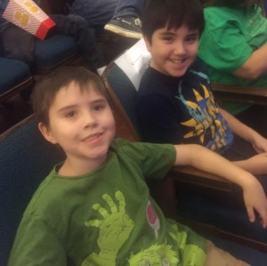 Here are the boys excitedly waiting for the show to begin.