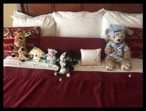 I also loved that housekeeping left a Kiss for each of the boy's stuffed animals, including the seagull on the pillow.